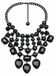 black costume necklace images European and american big baroque full mesh short black gem jpg