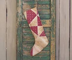 Claret And Blue Christmas Decorations by Christmas Stocking Antique Quilt Rustic Stocking Primitive