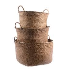 large black and natural hand woven seagrass basket each basket is