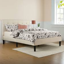 king size taupe beige upholstered platform bed frame with