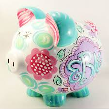 monogrammed piggy bank personalized piggy bank for pinks and greens piggy banks