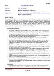 Qa Manager Resume Summary Cv Of Mohammad Mujeebuddin Pmo Qa Manager