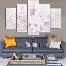 home decor group haochu 5pcs group canvas painting pretty white flower hd digital