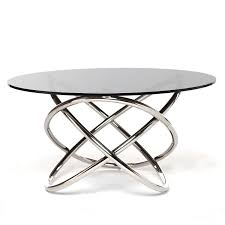 smoked glass coffee table round glass top modern coffee table