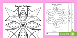 rangoli patterns colour 2d shapes colouring pages