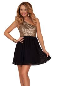 sequin cocktail two tone one shoulder knee length party bridesmaid
