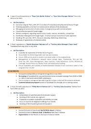 Territory Manager Job Description Resume by Unit Manager Cv