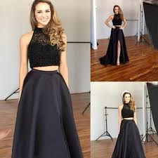 two piece prom homecoming dress black high neck with beaded