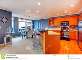 city apartment orange wood kitchen interior royalty free stock