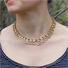 collar gold necklace images Antique french gold and blue enamel collar necklace victoria jpg