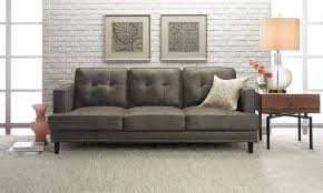 Brown Sofa White Furniture Furniture Mid Century Sofa With Grey Carpet And White Brick Wall