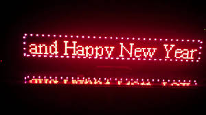 led sign for merry happy new year