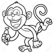 illustration de singe de bande dessinée avec de la banane livre