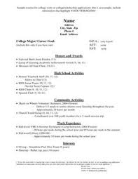 Example Resume For College Application by California How To Make A Resume For A College Student Ie Resume