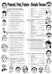 esl kids worksheets present past u0026 future simple tenses