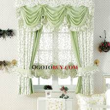 Discount Curtains And Valances Country Curtains Elegant White And Green Floral Print No Valance