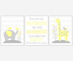 baby nursery canvas wall art yellow gray grey you are my sunshine