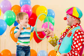 two cheerful clowns birthday children bright stock photo clown amusing child boy on birthday party stock photo image of
