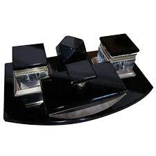 vintage 1950s black glass desk set for sale at 1stdibs