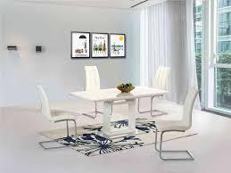 High Gloss Extending Dining Table White High Gloss Extending Dining Table And 6 Chairs Homegenies