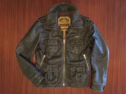 superdry zip er biker as distressed leather jacket premium hide edition brown men s mens superdry