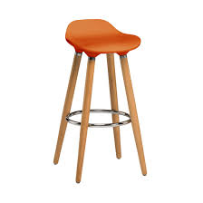 modern orange bar stools constructed of durable natural wooden legs and featuring a
