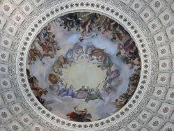George Washington   New World Encyclopedia Constantino Brumidi     s      fresco The Apotheosis of Washington is found in the rotunda of the United States Capitol