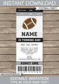 black and gray silver football party ticket invitation template