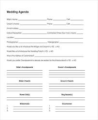 wedding agenda templates 7 wedding agenda sles exles