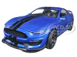 Blue Mustang Black Stripes Ford Shelby Gt350r Blue With Black Stripes 1 24 Diecast Model Car