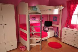 Bunk Beds Pink Size Loft With Mini Desk On Wooden Floor In Pink Bedroom As