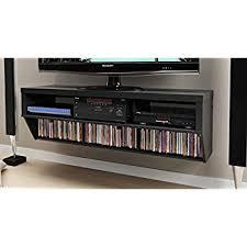 wall mounted av cabinet amazon com black 58 wide wall mounted av console series 9