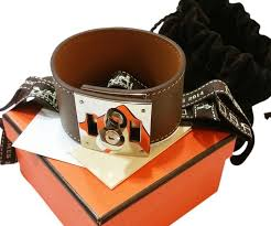 hermes bracelet leather images Herm s taupe silver extreme wide leather cuff bracelet necklace jpg