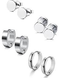 stainless steel stud earrings fibo steel stainless steel black stud earrings for men
