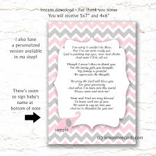 pink elephant baby shower thank you poem notes instant