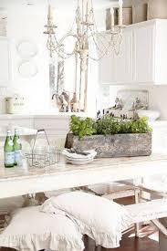 Shabby Chic Kitchen by Shabby Chic Kitchen With Table Island And Bench With Pillows And