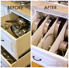 kitchen cabinet storage solutions diy pot and pan pullout cleaning diy organized pots and pans cookware drawer