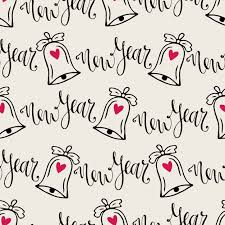 new year wrapping paper christmas bells seamless pattern with calligraphy vector modern