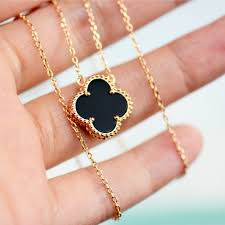 gold clover pendant necklace images Lucky clover four leaf black onyx necklace in rose gold 6grape jpg