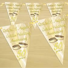 Wedding Flag Personalised Golden 50th Wedding Anniversary Flag Bunting Banner N11