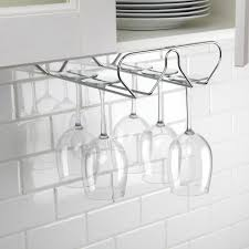 kitchen cabinet with wine glass rack ksp under cabinet wine glass rack chromewire kitchen stuff plus