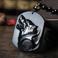 black fashion jewelry necklace images Black obsidian wolf head amulet carved pendant necklace obsidian jpg