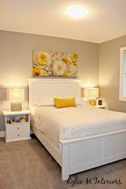 home staging ideas for the bedroom with yellow accents and gray
