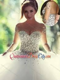 quinceanera dresses white 2016 scoop beaded white modern quinceanera dresses with sleeves