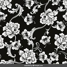 floral ornaments on black background vector free