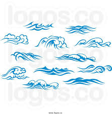 graphic design wave with sun waves logos of blue ocean surf
