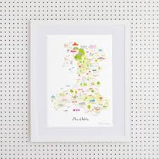 Map Of Wales Map Of Wales By Holly Francesca Notonthehighstreet Com