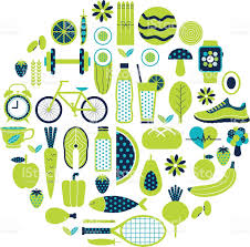 healthy lifestyle icon set in green colour stock vector art