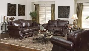 dark brown living room furniture dark brown leather traditional living room w nail head trim