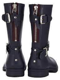 womens short biker boots jigsaw short biker wellington boots in blue lyst
